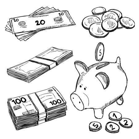 money stack: Money and coins doodles. Illustration of finance and currency. Sketch style drawing.