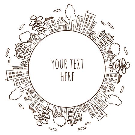 zeichnen: Illustration von doodle Häuser auf Kreis. Zeichnung von Dorf oder Stadt. Handskizze der Stadt gezogen. Nahtlose Kreismuster. Illustration