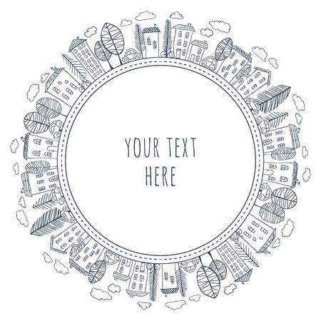Ilustração de casas doodle em círculo. Desenho de vila ou cidade. Esboço desenhado de mão da cidade. Padrão de círculo sem emenda.