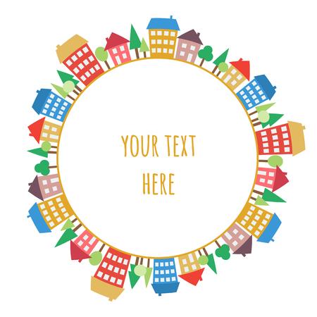 Illustratie van gekleurde huizen op cirkel. Tekening van het dorp of stad. Color ronde patroon van een stad. Naadloze cirkel design element.
