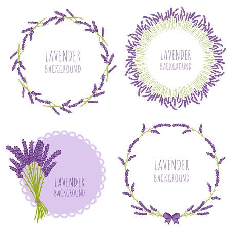 diseño floral en el círculo. diseño de la guirnalda de flores. Modelo inconsútil de la decoración linda de lavanda ronda.