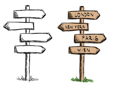 letrero: Conjunto de tarjetas de la muestra de madera del doodle con las ciudades. .vector Ilustración aislados en blanco. Croquis dibujado a mano de los signos.