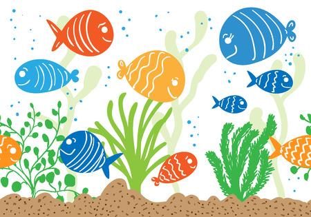 tropical tank: Aquarium doodle seamless pattern. Underwater tropical fish background.