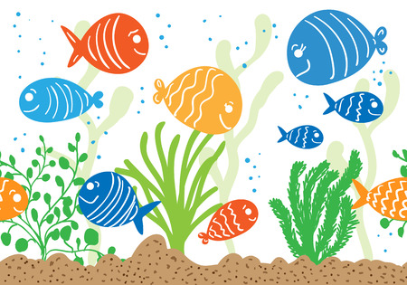 Aquarium doodle seamless pattern. Underwater tropical fish background.