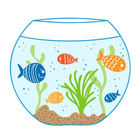 Aquarium doodle. Ocean life in fish bowl.. Underwater tropical fish background.
