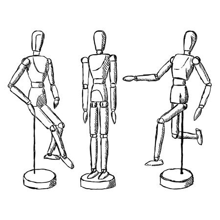 figurine: Wooden mannequin art figurine. Dummy model toy for drawing. Posing manikin on different poses.