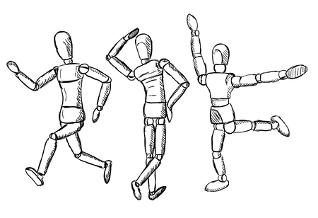 model posing: Wooden mannequin art figurine. Dummy model toy for drawing. Posing manikin on different poses.