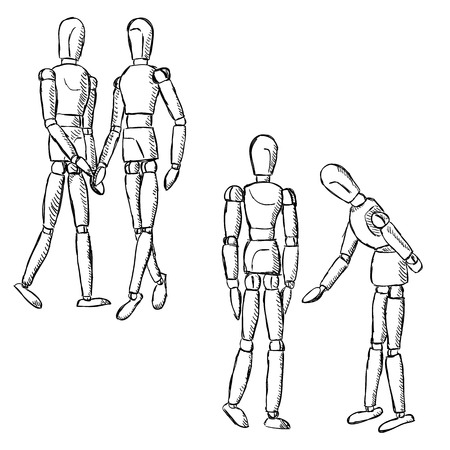 model posing: Wooden mannequin art figurines. Dummy model toys for drawing. Posing manikins on different poses in pairs.