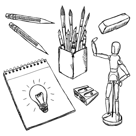 equipment: Art equipment doodles. Drawing and painting art objects hand drawn. Illustration of artist creative supplies.