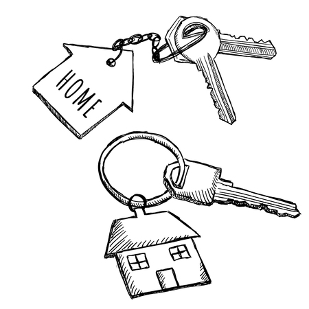 House keychain doodles. Illustration of home keys on key ring. Sketch style drawing. Stock Illustratie