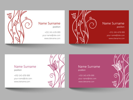 flower layout: Business card with floral doodle design. Template layout with flower illustration. Corporate identity card. Illustration