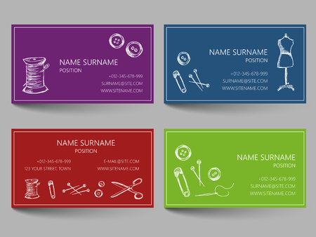 Business card with sewing doodles design. Template layout with sewing illustrations. Corporate identity card.