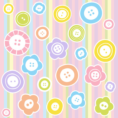sew: Sewing buttons on fabric background. Fashion illustration of buttons seamless pattern. Illustration