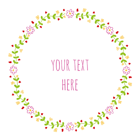 Bloemmotief in cirkel. Bloemkroon ontwerp. Rond leuk bloemen decoratie naadloos patroon.