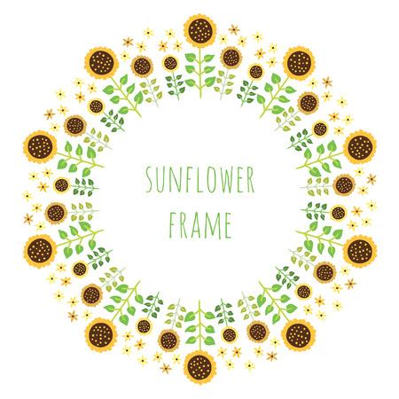 Blumenmuster im Kreis. Blumenkranzentwurf. Runde nette Sonnenblumendekoration nahtlose Muster. Standard-Bild - 61122016
