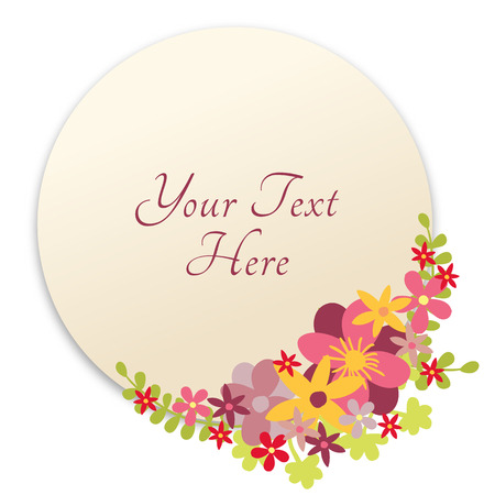 circle flower: Floral design in circle. Flower wreath design. Round cute flowers decoration with place for copy text. Illustration