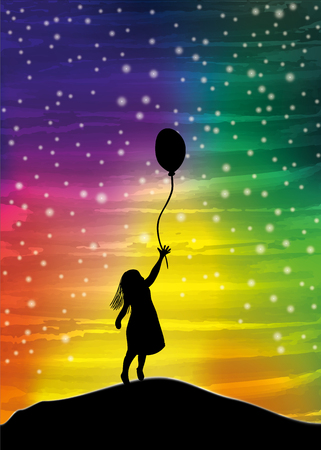 La ragazza con il palloncino sul cielo, pittura ad acquerello digitale