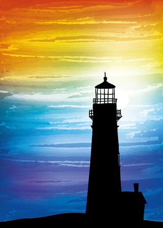 Lighthouse on the sunset, digital watercolor painting Ilustracja