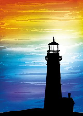 Vuurtoren op de zonsondergang, het digitale waterverf schilderen