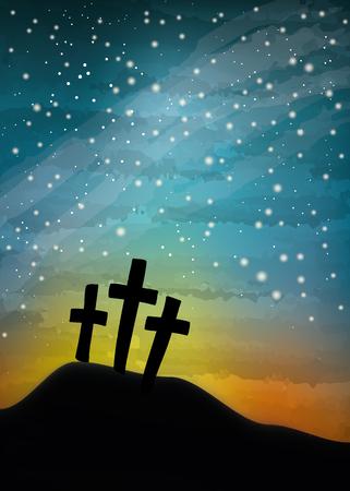 Árbol cruces en el cielo nocturno, pintura digital acuarela