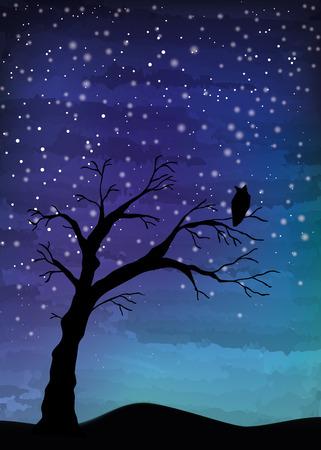 Tree crosses on the night sky, digital watercolor painting