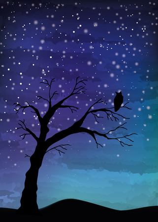 Tree crosses on the night sky, digital watercolor painting