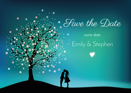 Gloeiende boom op de nachthemel met paar in liefde, het digitale schilderen Stockfoto - 81734138