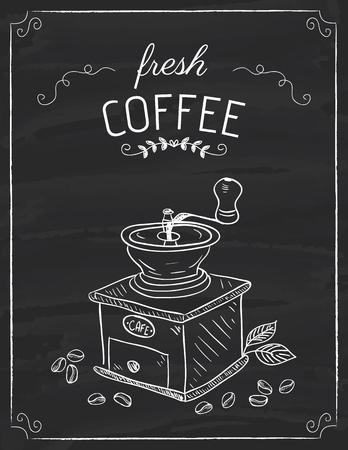 El moño de café doodle en el tablero negro Ilustración de vector