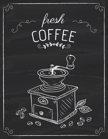 The coffee grinder doodle on the black board