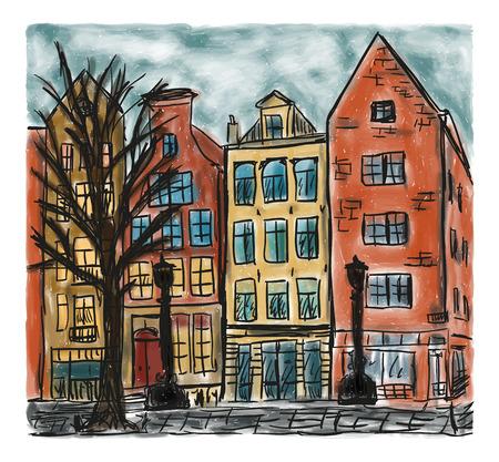 色の手描き絵画、ヨーロッパの都市の家スタイル