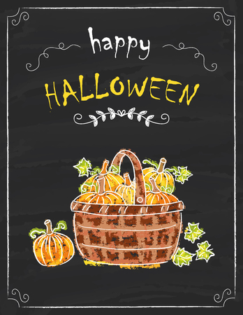 Halloween basket of pumpkins on the black board, colored hand drawn chalk painting Illustration