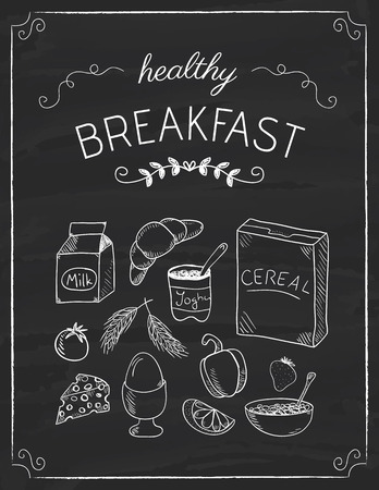 Healthy breakfast doodles on the black board, hand drawn illustration Çizim