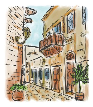 地中海タウンハウス スタイル、手描き絵 写真素材 - 81817639