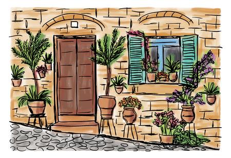 地中海タウンハウス スタイル、手描き絵 写真素材 - 81817637