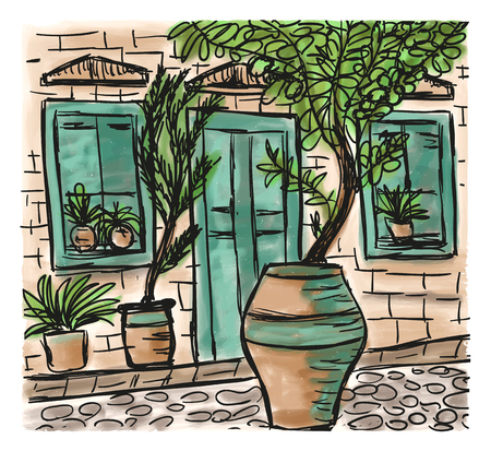 mediterranean homes: The Mediterranean town house style, hand drawn painting