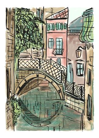 地中海タウンハウス スタイル、手描き絵 写真素材 - 81817640