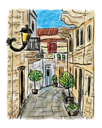 De mediterrane herenhuisstijl, met de hand getekend schilderij