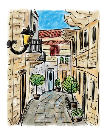 Le style de maison de ville méditerranéenne, peinture dessinée à la main Banque d'images - 81817644