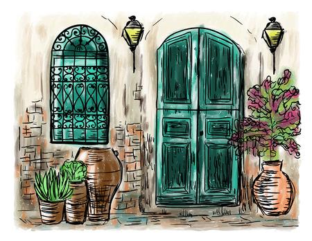 地中海タウンハウス スタイル、手描き絵 写真素材 - 81792038