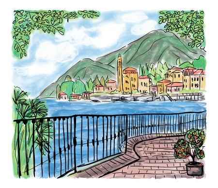 地中海の遊歩道や海、手描きの絵