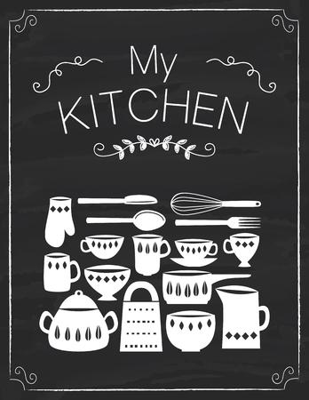 Ferramentas de cozinha e panelas na placa negra Foto de archivo - 81817646