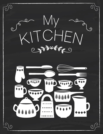 Kitchen tools and pots on the black board