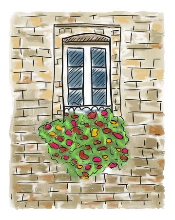古い家と花、窓手描き下ろし絵画  イラスト・ベクター素材