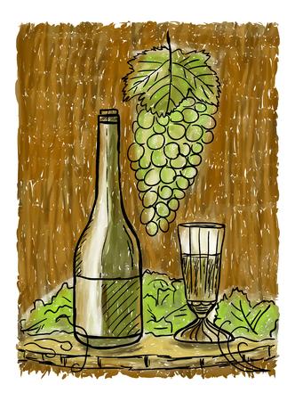 와인과 유리, 아직도 생활 개념 페인팅 병 일러스트