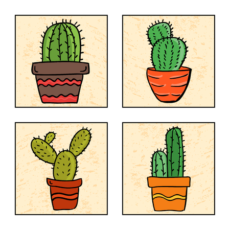 Illustration of four cactus in a pot, hand drawn style
