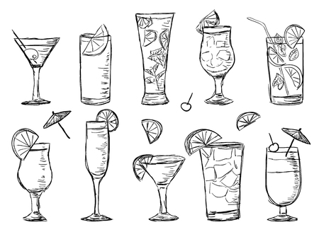 Illustration of tropical exotic cocktails, doodle style Ilustracja