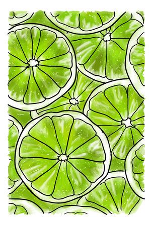 Illustratie met grote plakjes verse limoen