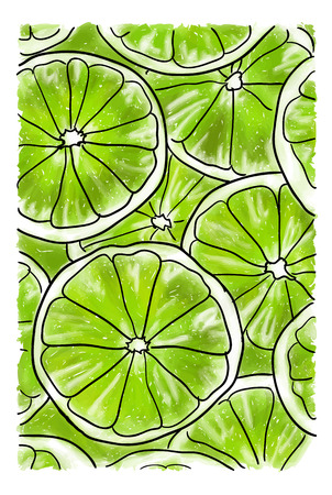 Illustration with big slices of fresh lime