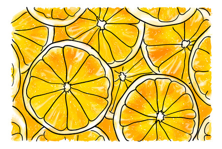 Illustration with big slices of fresh orange Ilustracja