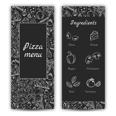 Pizza restaurant menu, template with ingredients, doodle style
